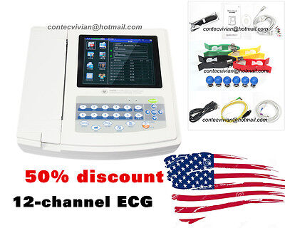 Ecg1200g Digital 12 Channel Ecg Machine Color Electrocardiographusb Pc Software