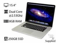 "2.53Ghz 15.4"" Apple MacBook Pro 8gb 250GB Final Cut Pro X Logic Pro X Sibelius Ableton Pro Tools 10"