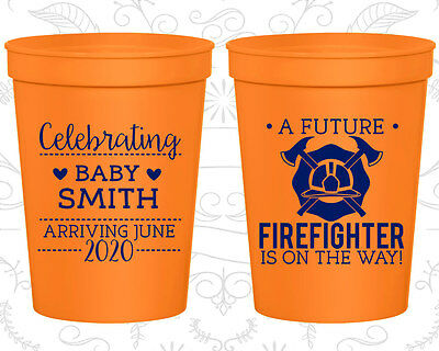 Baby Shower Plastic Cups Cup Favors (90048) Fire Fighter, Blue Baby Boy Baby Blue Plastic Cup