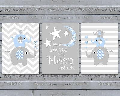 3 Wall Art Nursery Prints Baby Boy Moon & Stars Chevron Elephant Stacks Stripes