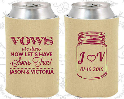 Personalized Wedding Coozies Custom Coozie (231) Mason Jar, Rustic Favors (Wedding Coozies)