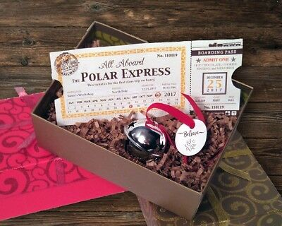 Polar Express Train Ticket & Sleigh Bell Set (Brand New, Handmade)