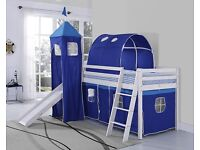 Cabin bed with slide, turret, tent and mattress for sale (all used).