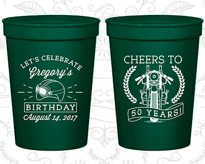 Personalized 50th Birthday Cups Custom (20220) Cheers To 50th Years, Motorcycle - Motorcycle Birthday Party Supplies