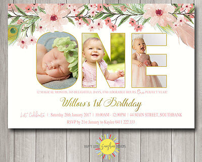 Custom Printable Girls Birthday Invitation Floral Photo Letters Any Age - 1st Birthday Custom Invitations