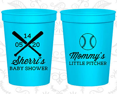 Baby Shower Cups Cup Decorations (90137) Mommys Little Pitcher, Baseball, - Baseball Baby Shower Decorations