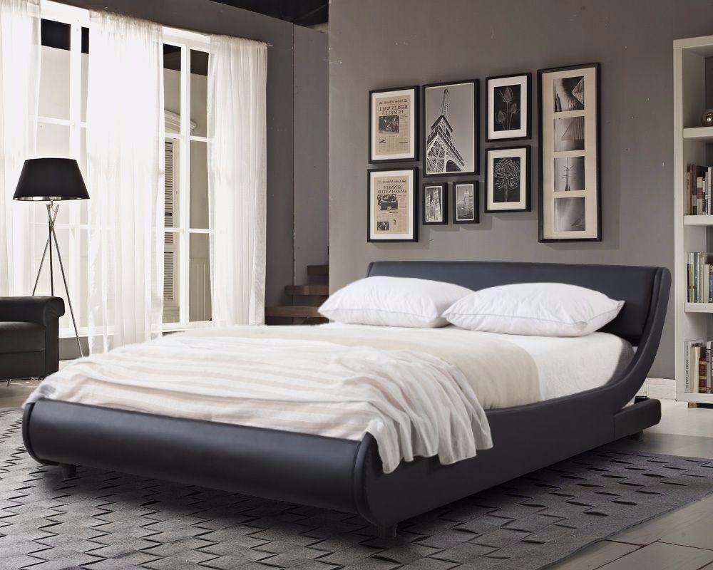 💥💥*****BRAND NEW*Modern Designer Low Frame 5ft kingsize Black Faux Leather Bed *****💥💥