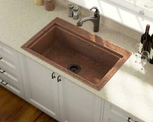 Hand-hammered 31.5 Single Bowl Dual-Mount Copper Ledger Sink