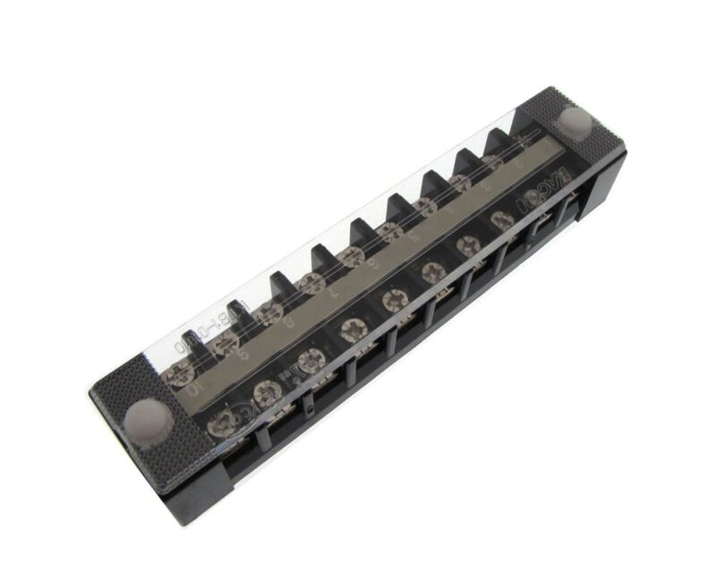 HQ KACON 10 Position 10P Screw Barrier Strip Terminal Block w/ Cover 10A