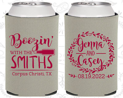 Wedding Favor Coozies Cheap Beer Can Coozie Idea (546) Boozin, Floral Wedding