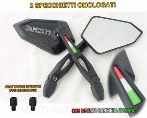 2X-SPECCHIETTI-SPECCHI-LOGO-DUCATI-STYLE-ARGENTO-TRICOLORE-BANDIERA-ITALIA-3D