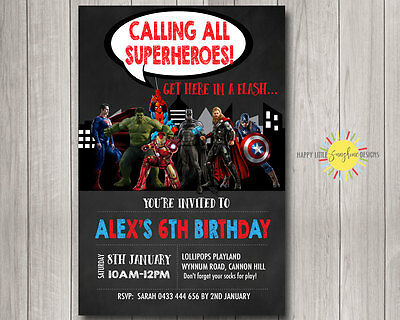 Avengers Printables (Printable Boy Birthday Chalkboard Invitation Party Superhero Avengers Any Age)
