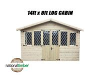 14FT x 8FT ULTIMATE LOG CABIN SUMMER HOUSE OFFICE BAR SHED HIGH QUALITY TIMBER