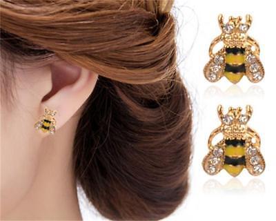 Funny Enamel Jewelry Rhinestone Bumble Bee  Crystal Earrings Animal Ear Stud - Bumble Bee Ears