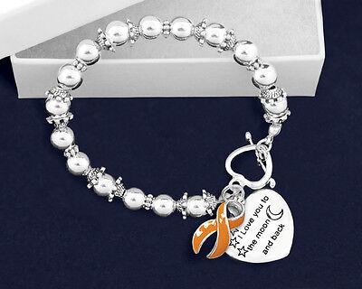 Multiple Sclerosis Ms Awareness Support Bracelet Ribbon I Love You Moon   Back
