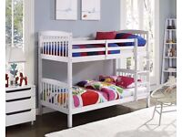 🔴🔵SAME DAY DELIVERY🔴🔵New 3FT White Chunky Pine Wood Convertible Bunk Bed w Range Of Mattresses