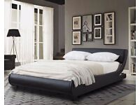 💥💥*****BRAND NEW*Modern Designer Low Frame 5ft kingsize Black Faux Leather Bed *****💥💥