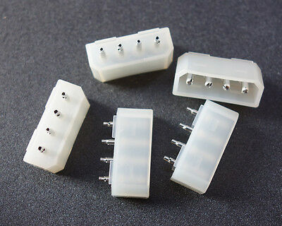 5x Molex 4 Pin Pins Computer Power Connector Pcb Straight Socket For Hard Drive