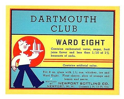 Dartmouth Club Ward Eight Soda Bottle Label Newport N H