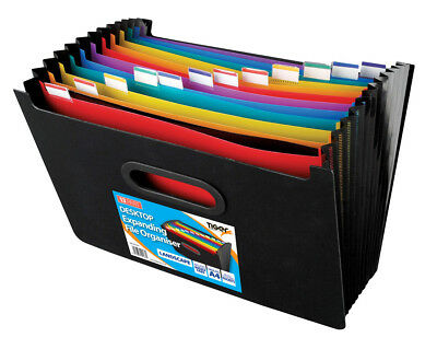 A4 Landscape Black & Coloured 13 Part Desk Top Expanding File Organiser 302187