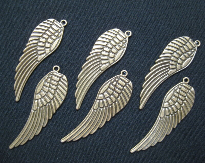 "Wing Charms Pendants Steampunk Antiqued Bronze Brass 2"" Angel Feather Lot of 20"