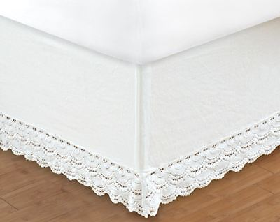 WHITE CROCHET Twin Full Queen King BEDSKIRT : COTTAGE VINTAGE BED SKIRT RUFFLE - Cottage White Queen