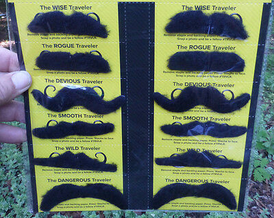 12 Party Moustaches Mustaches costume Pirate Western Cowboy Mexican stickon prop (Party Moustaches)