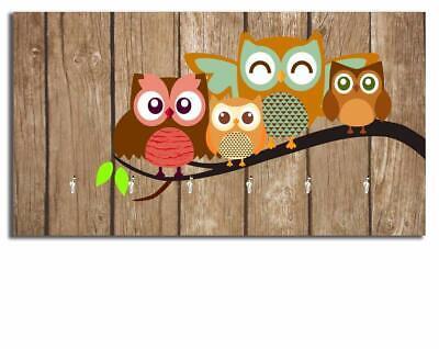 Vintage Owl Wooden Key Holder Wall Mounted Key Holder Key Organizer Key Hook