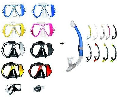 Mares X-Vision Liquid Skin Diving Mask + ergo Dry Top Snorkel Package Gear