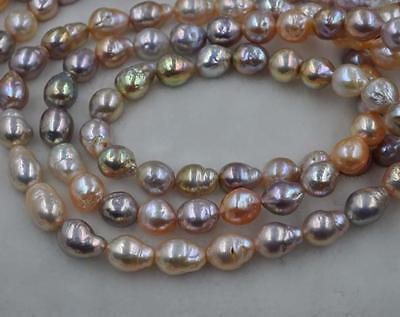 GORGEOUS Rare Rainbow Multicolor Furrow Kasumi pearl strand 10-13*11-14mm