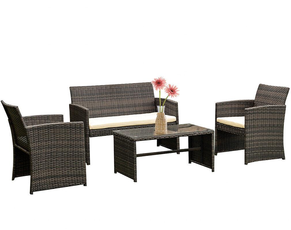 4 Piece Rattan Chair Wicker Sectional Sofa Outdoor  Coffee Table Home & Garden