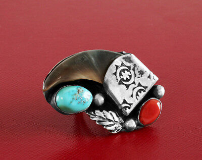 Native American Ring Vintage Sterling Silver Turquoise Coral 1970's NOS