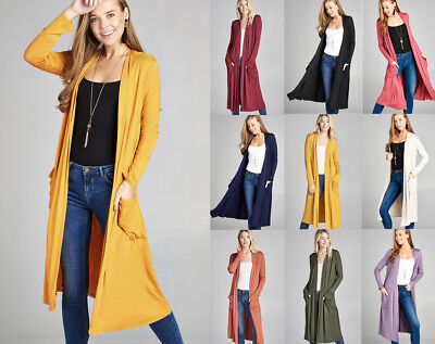 S-XL Women's Premium Soft Jersey Knit Long Midi Open Front Long Sleeve Cardigan