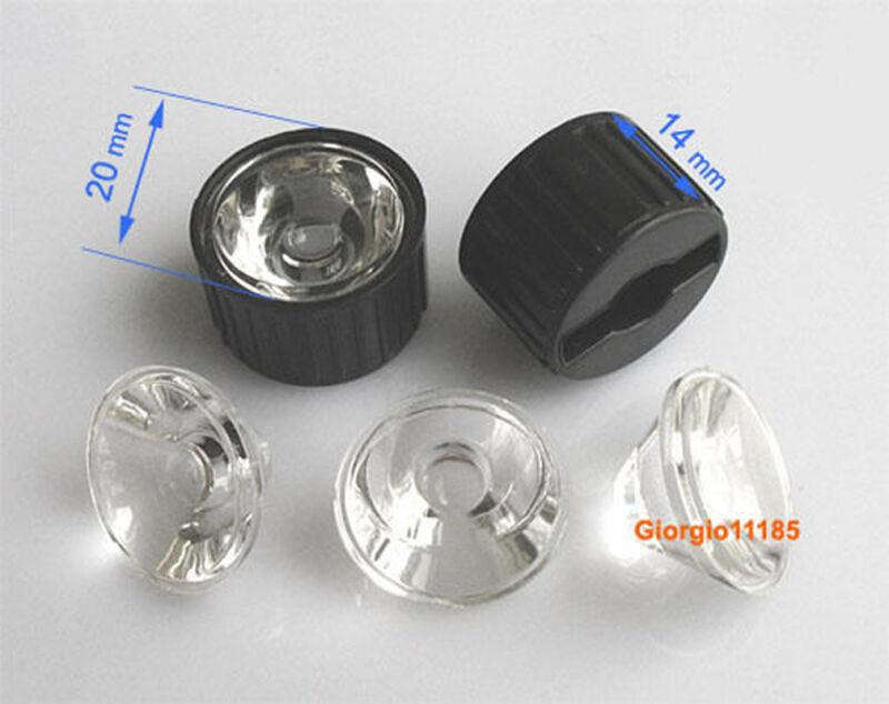US Stock 10pcs 10 Degree LED Lens For 1W 3W 5W Hight Power LED With Holder Black