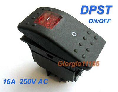 US Stock Red Light DPST OFF/ON Rocker Switch RK1-06 Double Pole Single Throw