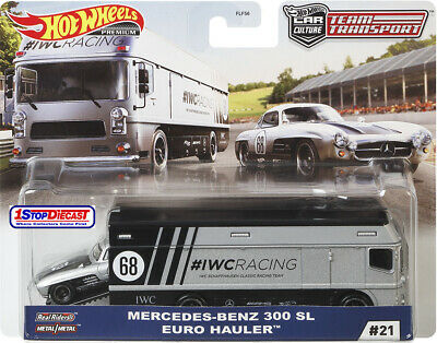 HOT WHEELS 2020 TEAM TRANSPORT H MERCEDES-BENZ 300 SL IWC RACING SET SHIPS 4/22