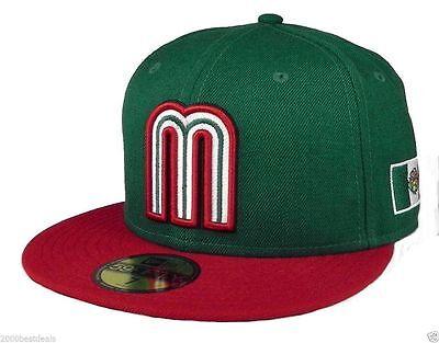 New Era 59Fifty Cap Mexico World Baseball Classic Mens Womens Green Red 5950 Hat