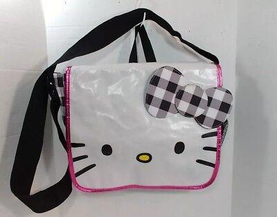 Hello Kitty Sanrio Black White Check Bow Messenger Satchel Laptop Crossbody Bag  - Hello Kitty Laptop Bag