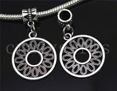 Silver Circular Bracelets - 6/30/100pcs Tibetan Silver Circular Bulk Lots Dangle European DIY Charm Bracelet