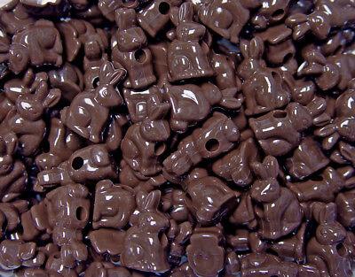 Chocolate Brown Easter Bunny Rabbit shape pony beads made USA kids church crafts - Church Crafts