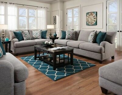 4 piece Living Room Set ROSALIE Gray Sofa Loveseat Ottoman Chair and a half ()