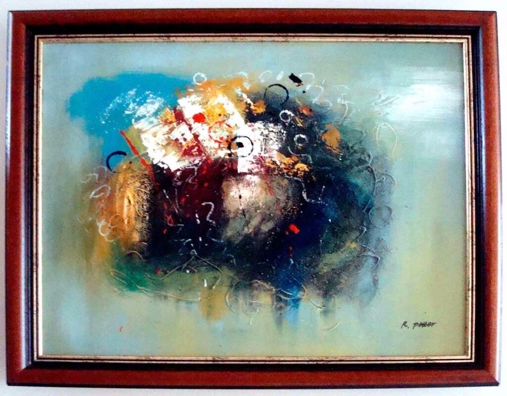 ****Abstract Oil painting Hand painting - mahogany frame****