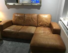 3 seater corner sofa in tan leather