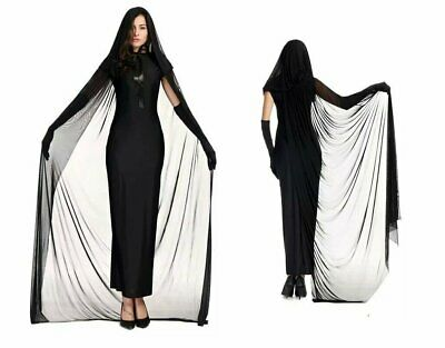 Women's Deluxe Black Gothic Witch Long Dress Costume 4 Piece