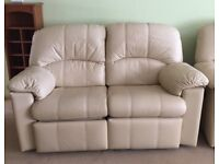 MINT CONDITION Two Seater G Plan Ivory Double Leather Sofa (Two Available)