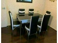 🚚BRAND NEW DESIGNER STYLE EXTENDABLE DINING TABLE WITH 4 OR 6 FAUX LEATHER CHAIRS 🔥🔥