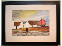 Original Gouache Oil Painting COTTAGE, SHAWLEY & BOAT Irish Artist SEAN DYLAN