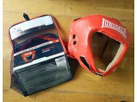 Free Gloves with Lonsdale Boxing Challenger Open Face Headguard Red Size Medium