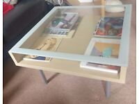Coffee table - 2ft6 (29'') square, light wood and glass.