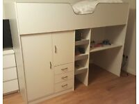 High sleeper bed with wardrobe, drawer and desk, with mattress, as new